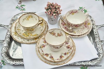 mixed antique pink and yellow tea set