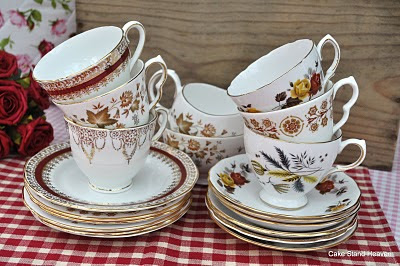 English mixed vintage teacups saucers and tea plates