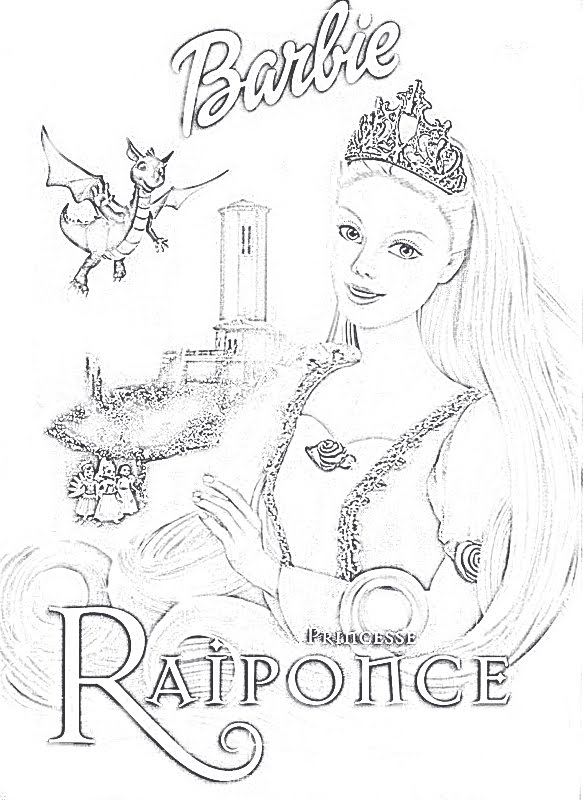 coloriage en ligne gratuit barbie princesse Dailymotion  - Coloriage Barbie Raiponce