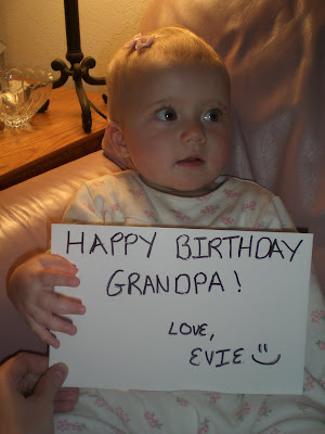 Evelyn Grace Borg wishing Grandpa Happy Birthday