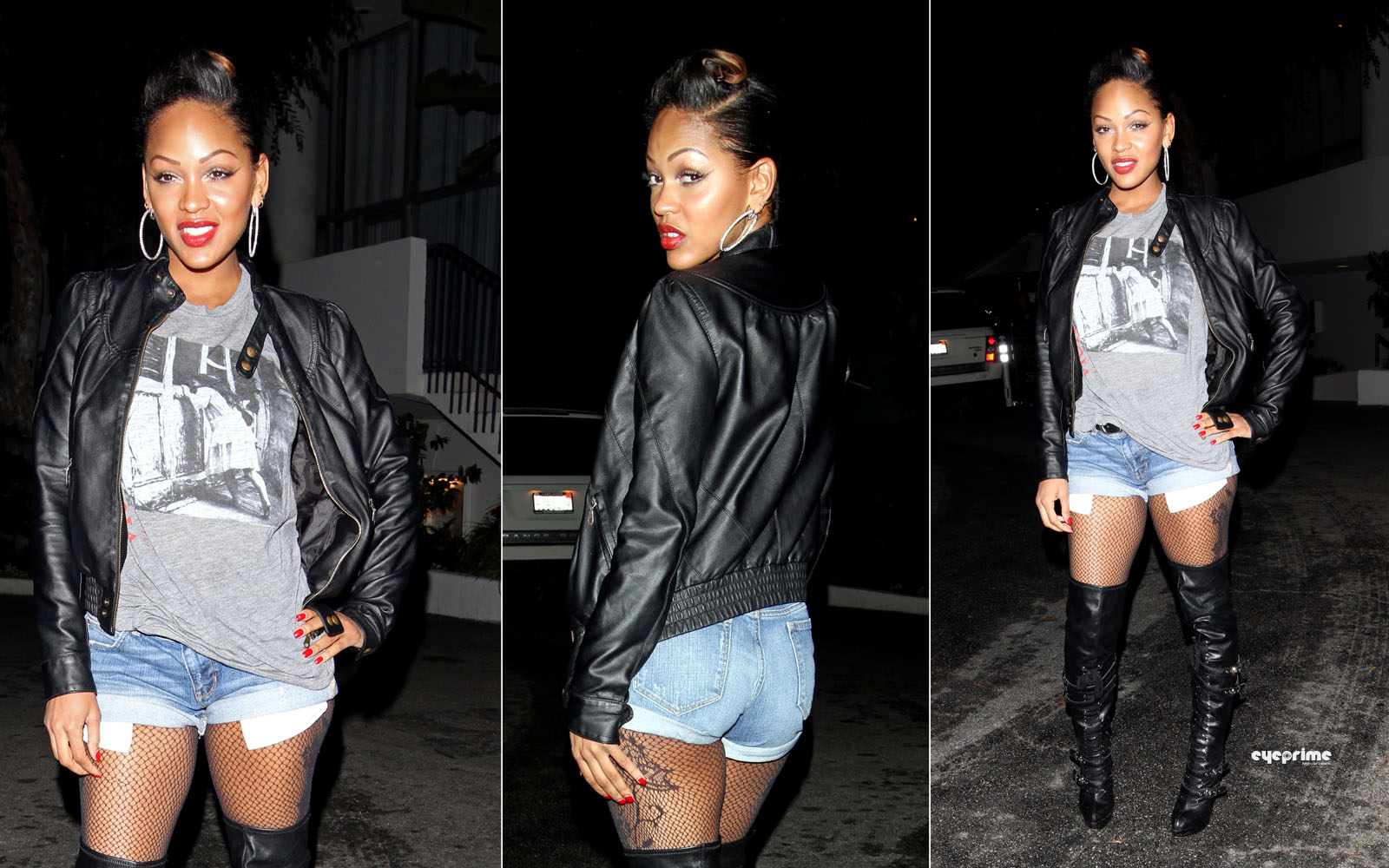 21 2010 Actress Meagan Good Showing Off Her Thigh Tattoo In Knee