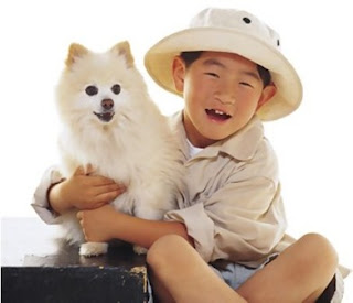 japanese kid with cute white dog