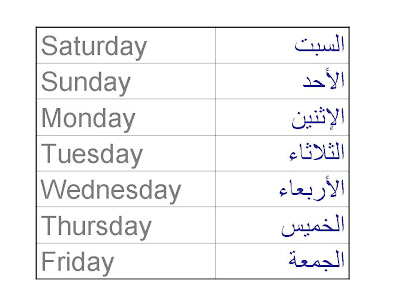 how to say monday in arabic