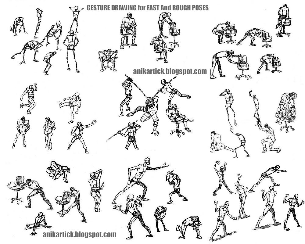Scribble Gesture Drawing : Gesture drawing example poses