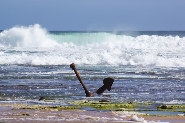 anchor of the marie gabrielle on wreck beach