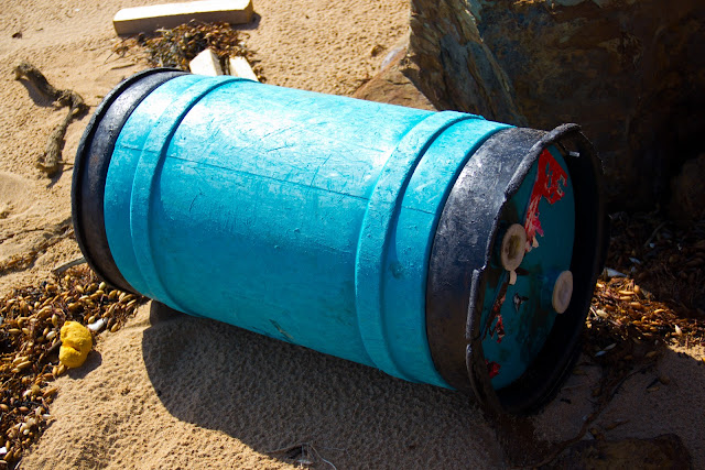 big blue barrel washed up