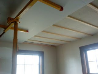 Installing furring strips on ceiling for drywall