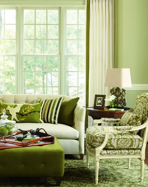 Fashion designing living room 7 looks 7 different colors for Green living room ideas