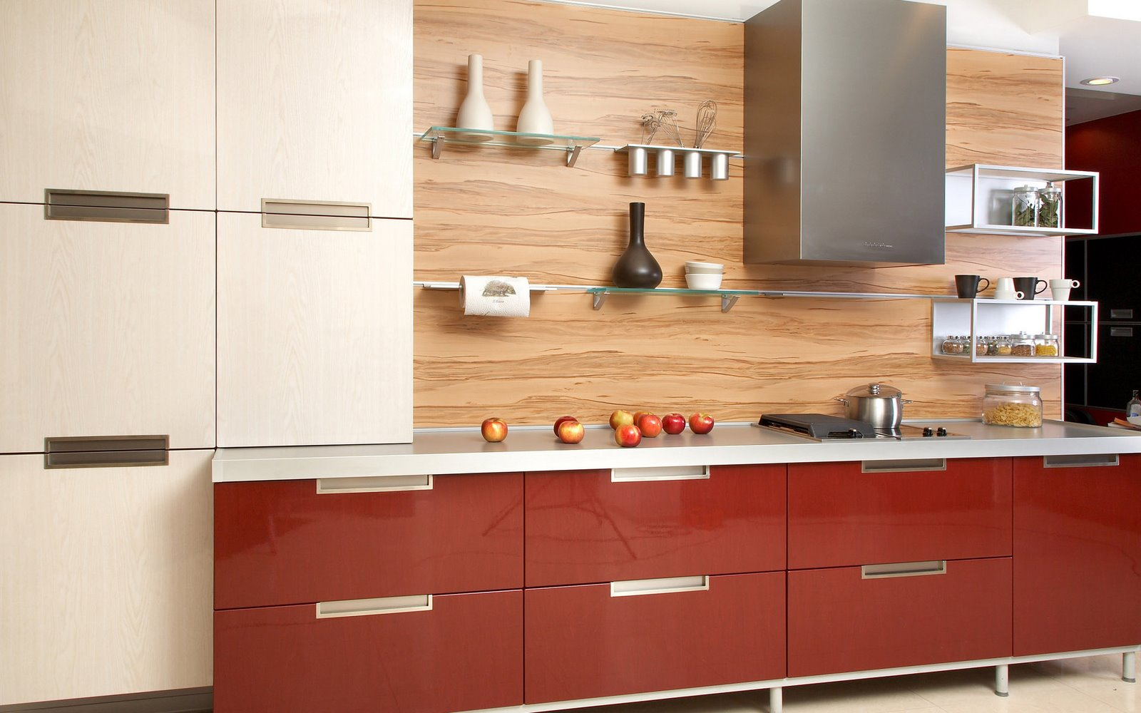 Creative subway tile contemporary kitchen backsplash