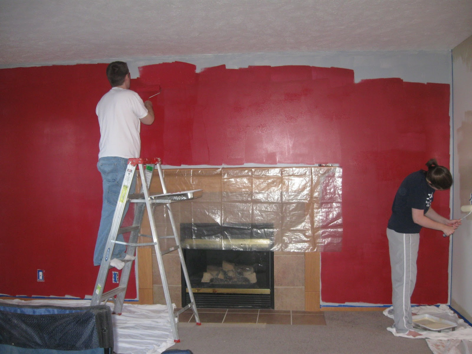 Progressing on the Barn Red & Hickory Living Room. Yes, the wall looks  title=