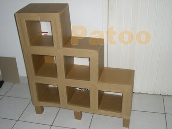Carton pat un rangement bas avec un tiroir - Acheter meubles en carton ...