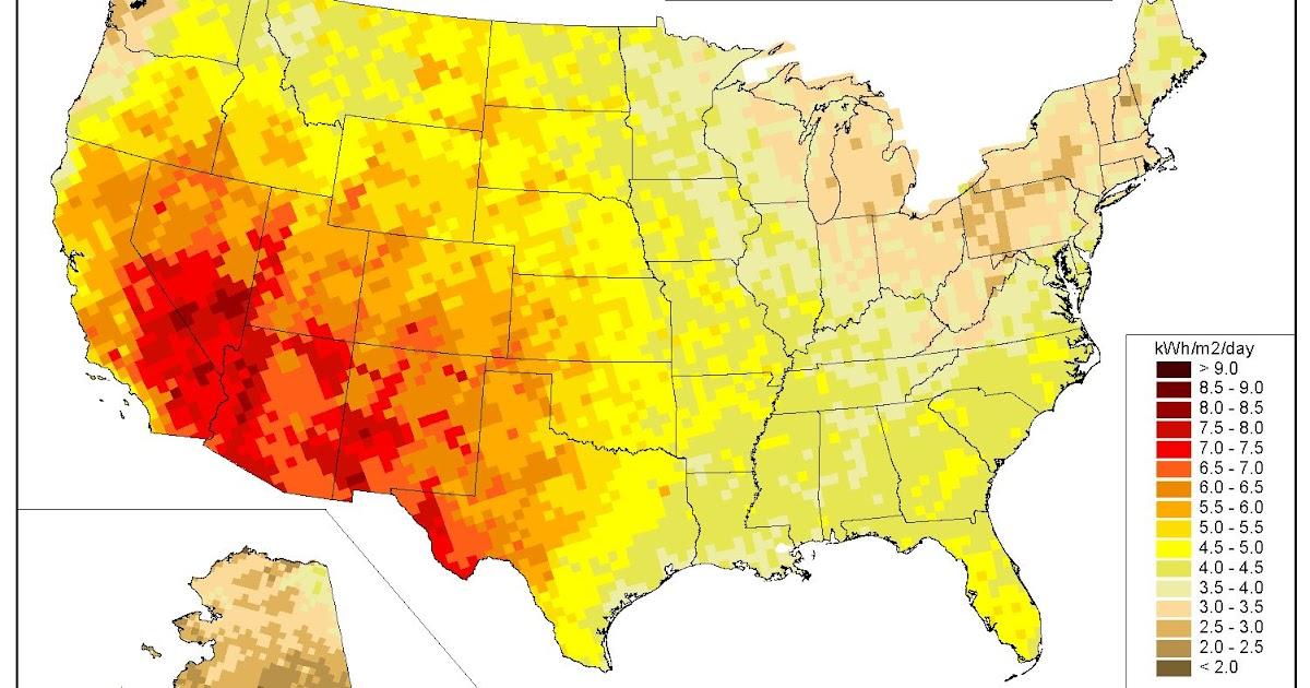 Interesting energy facts US solar energy map