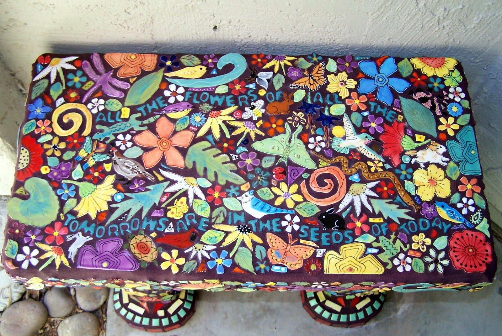 Handmade Tile Studio Bench Covered With Handmade Tiles