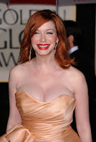 Christina Hendricks appear elegant with a gorgeous strapless ruffled peach gown fashion style