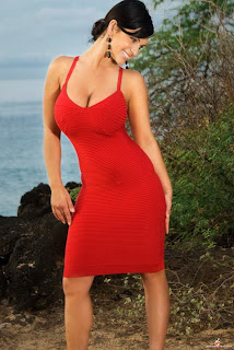Denise Milani in Elegant Hot Red Sleeveless Dress Fashion Model Photoshoot