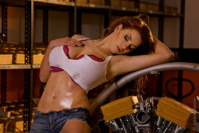 Jordan Carver hot motorcycle mechanic photoshoot