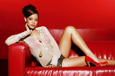 Rihanna in Hot Red Casual Fashion Model Photo Shoot Session by Frank Lothar Lange Photography