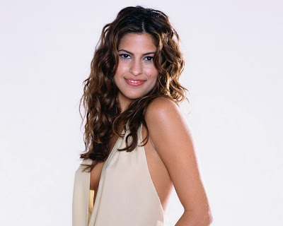 Eva Mendes in Wonderful Cream Draped Backless Gown Fashion Model Photo Shoot Session