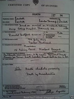 Bon Scott Death Certificate