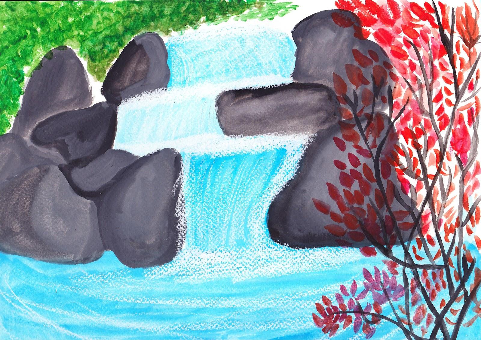 Le pinceau zen d 39 horolia cascade - Paysage peinture facile ...