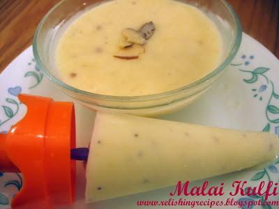 indian ice-cream - kulfi (a combination of malai and kesar badam kulfi)