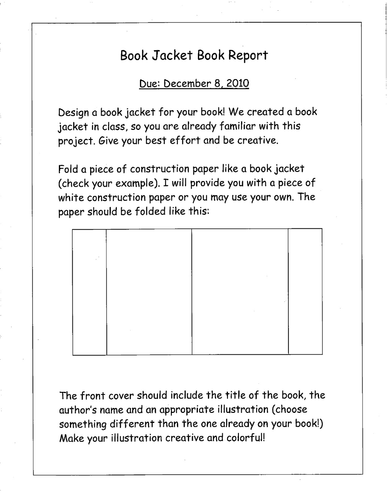How To Make A Book Jacket Book Report ~ Raft what should i do