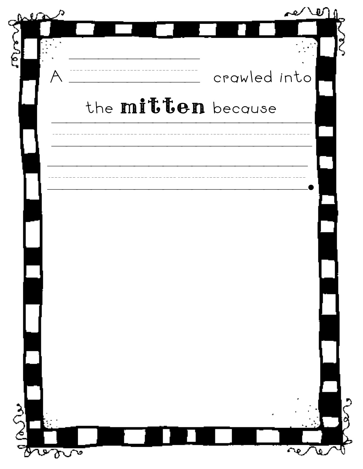 The Mitten, A Printable Book. Print out a Mitten early reader book.