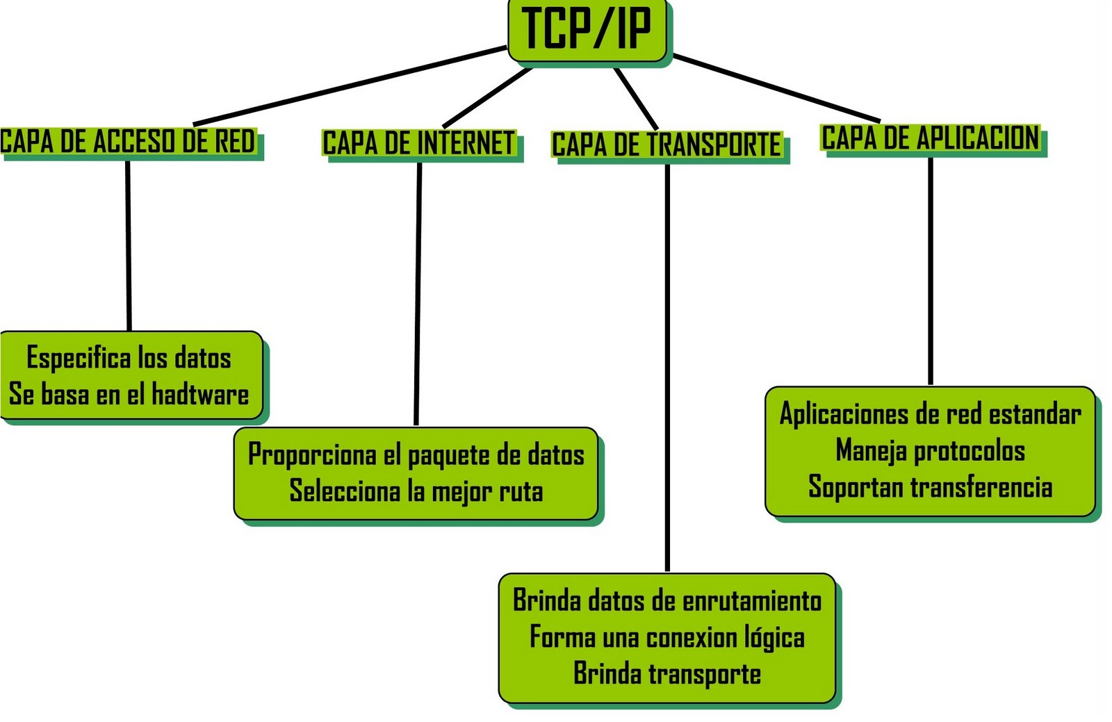 capas de tcp ip: