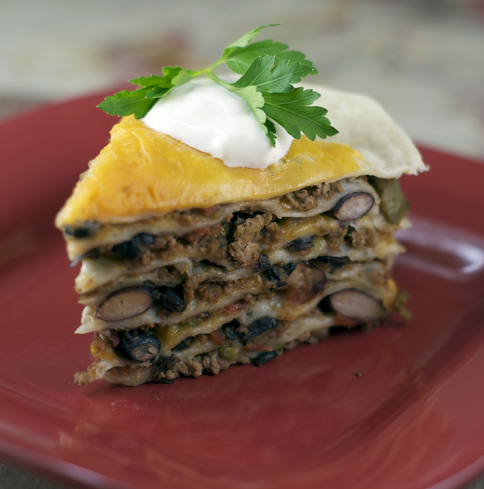 stacked tortilla pie