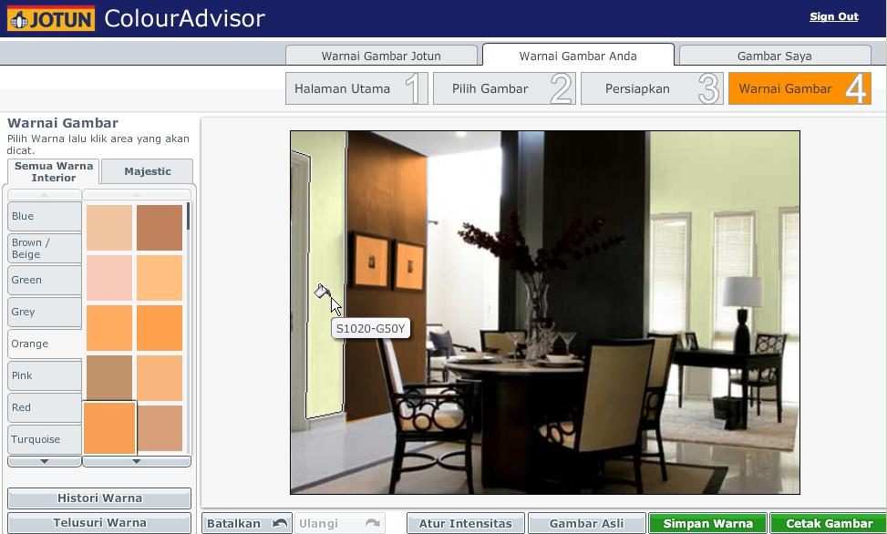 cat untuk desain interior / Online tool for interior design color