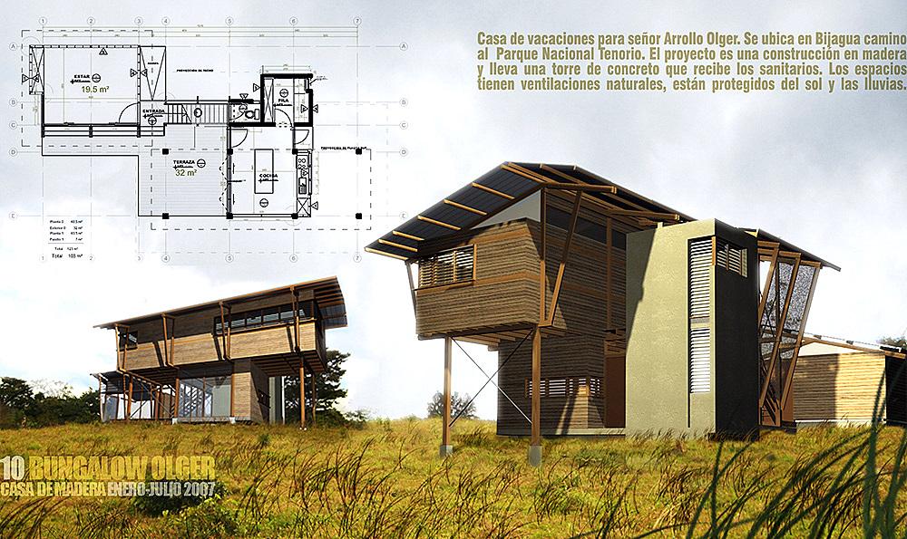 a sebuah rumah bungalow dari bahan konstruksi kayu
