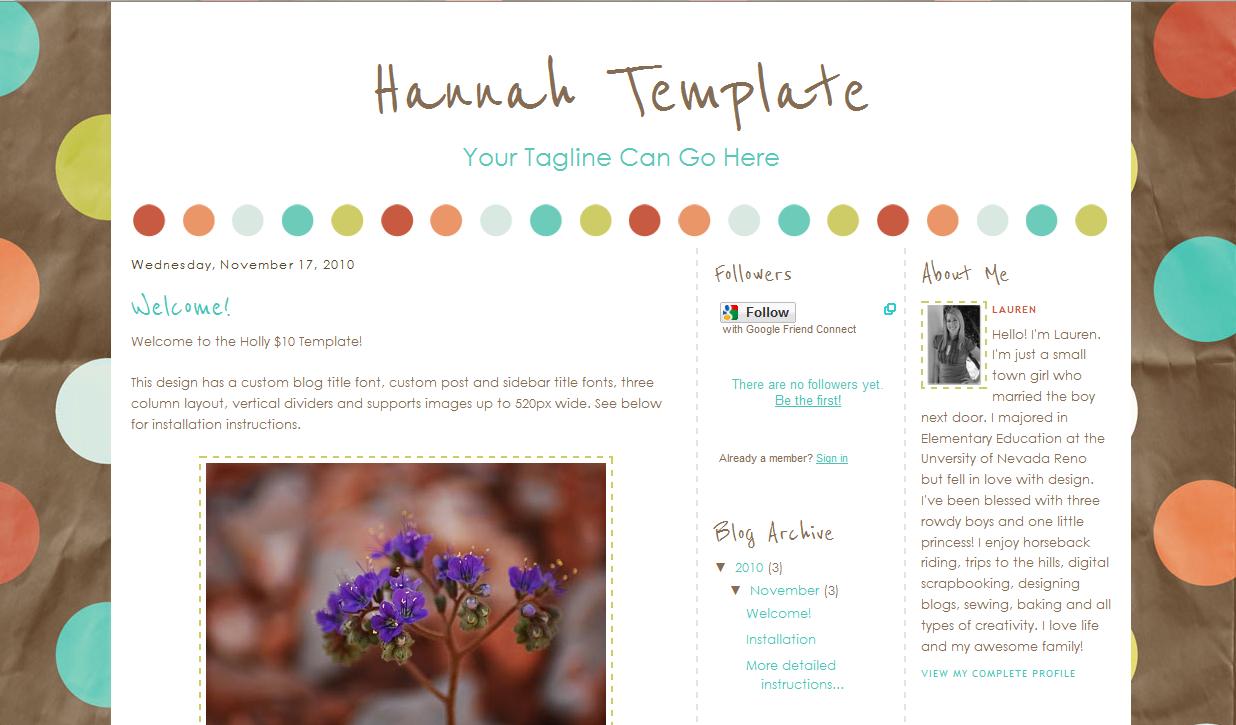 Hannah Blog Template