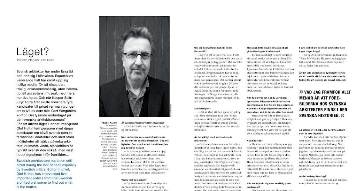 Arkitektur: Läget? - Peder Alton om svensk arkitektur