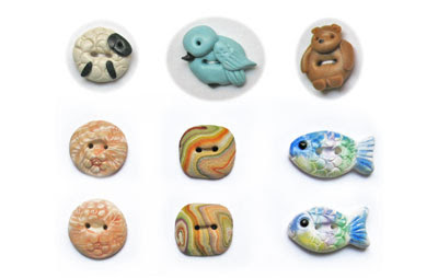 Hand crafted buttons made from polymer clay by Sue Heaser