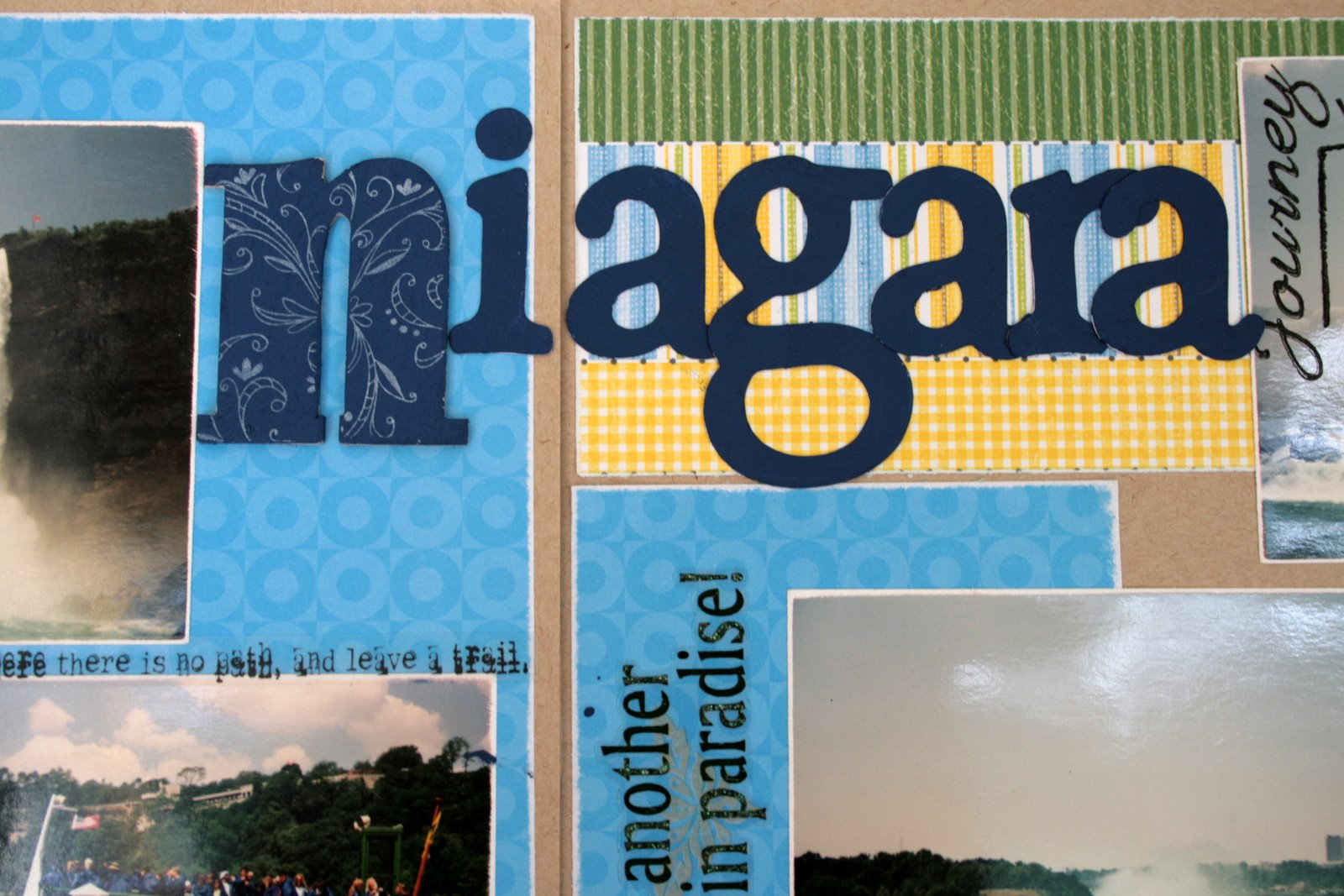 Scrapbook ideas niagara falls - For The Title I Used Chipboard And My Slice I Painted Everything With My Denim Paint Dabber And Stamped A Swirl Stamp With Stazon Cotton White On The N