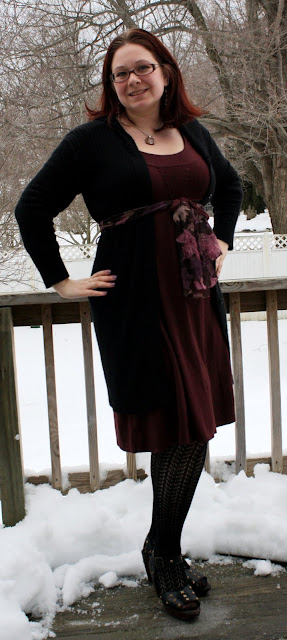 burgundy, blcak, pink, purple, dress, cardigan, hood, scarf as belt, sweater tights, sandals, tree pendant, dangle earrings