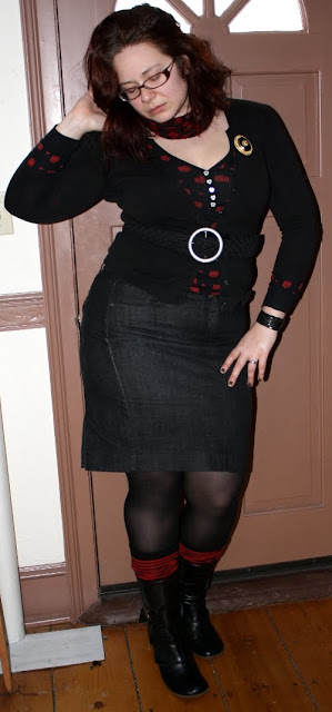 black and red outfit: black denim pencil skirt, cardigan, owl henley, boots, striped socks, tights, scarf, onyx brooch