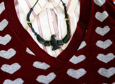 detail, closeup, sweater, hearts, buttondown, collared shirt, stripes, necklace, bird, serpentine, red, pink, green