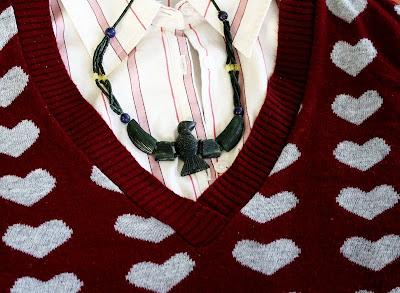 detail, closeup, sweater, hearts, buttondown, collared shirt, stripes, necklace, bird, serpentine, red, pink, green