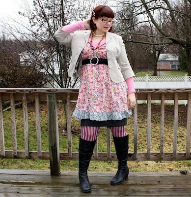 Liberty of London dress, jacket, skirt, stripey stockings, boots