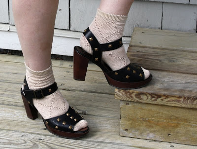 Fluevog sandals and lacy socks