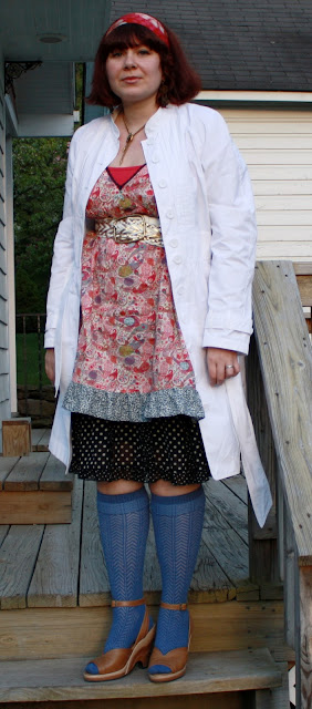 today's outfit, WIWT, Target flowered chemise, Theory tank, skirt, Fluevog shoes, Sock Dreams OTKs, trench coat