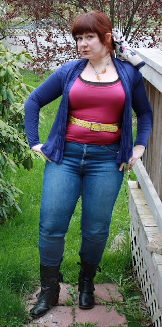 today's outfit, WIWT, skinnies, boots, Velvet top, rib-knit tank, Design History cardigan, studded belt