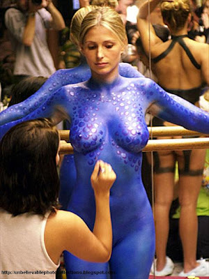 Really hot naked housewife body painted without clothes