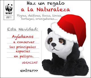 postal navidad oso panda wwf