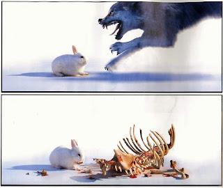 Conejo entrenado contra el lobo fero$