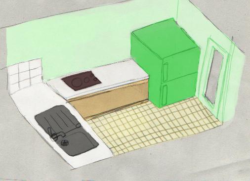 frigo alors jai dessiné ma cuisine avec un frigo rouge puis vert