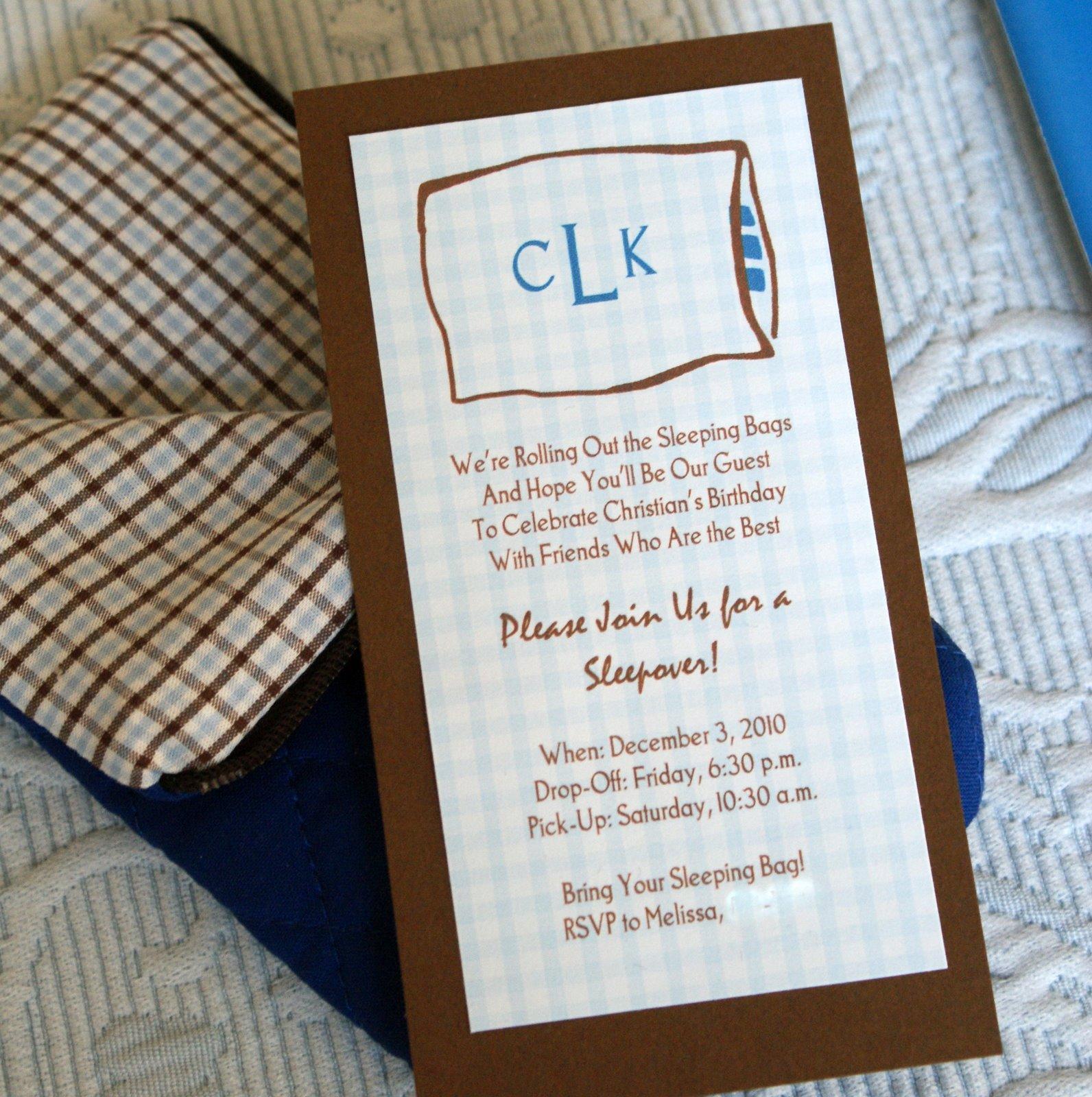 Sleeping Bag Invitation