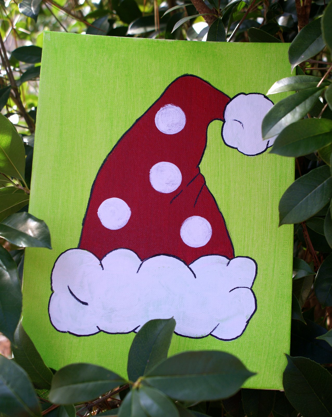 Here Is An Example Of A Completed Painting From Our Christmas PARTy I Painted The Backgrounds Green Days Before Party Thinning Paint Little With
