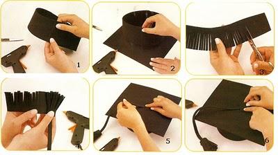 Corta una tira de unos 50 x 7 cm (es conveniente medir el perímetro de cada cabeza ya que varía considerablemente de un niño a otro).